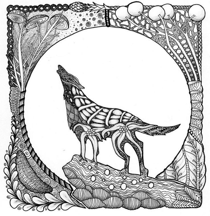 Résultats de recherche dimages pour wolf mandala coloring pages