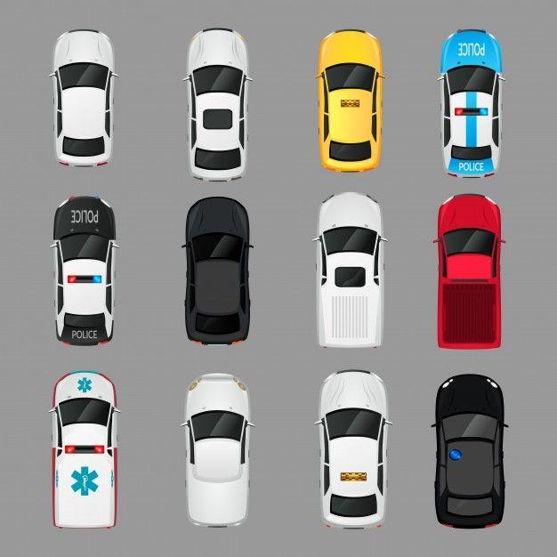 Telechargez Voiture Transport Vue Icones Ensemble Isole Vecteur Illustration Gratuitement Car Top View Car Icons Icon Set