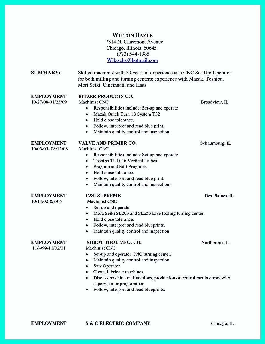 Nice Writing Your Qualifications In Cnc Machinist Resume A Must Check More At Http Snefci Org Writin Cnc Machinist Cnc Machine Operator Job Resume Samples