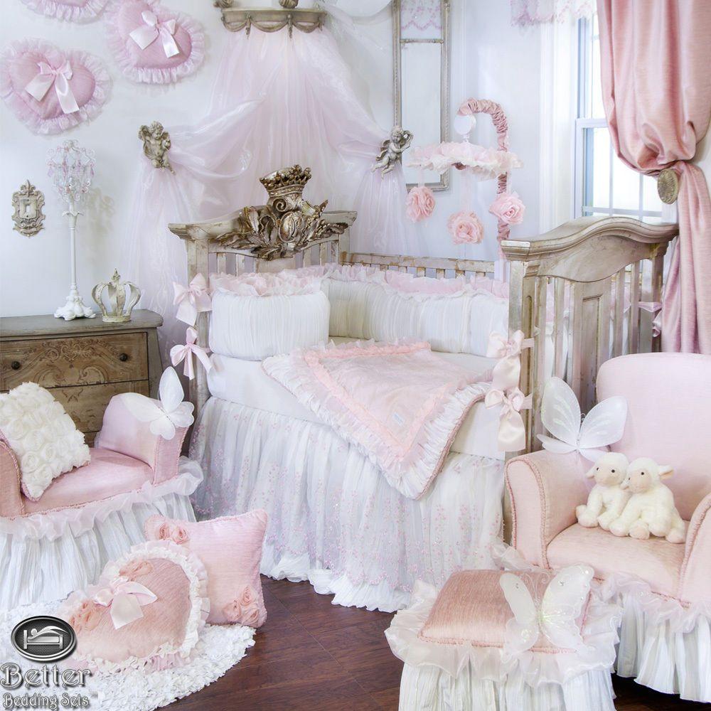 Baby Girl Pink White Luxury Designer Princess Crib Nursery