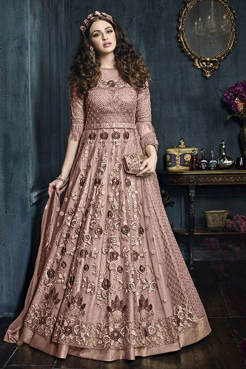 99af8a4bd3 Beautiful Pink Color Traditional Look Net Fabric Bollywood Designer Party  Wear Style attractive Look Fancy Heavy Embroidered Gown Style Suit ...