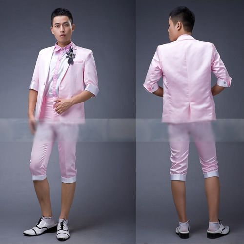 Mens Light Pink Cropped Sleeve Pants Casual Dress Suits for Prom ...