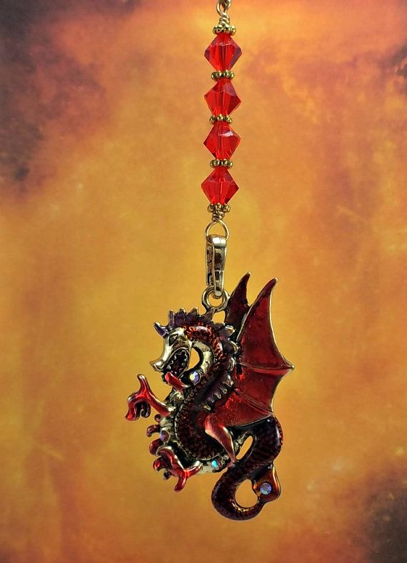 Red dragon ceiling fan pull crystal fan pull crystal light pull red dragon ceiling fan pull crystal fan pull by bychristinemarie aloadofball Images