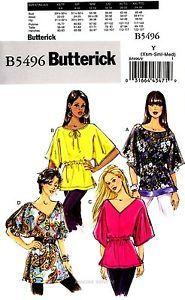 Butterick Sewing Pattern B5496 Women's XS-M very easy Tunics Tops 5496 OOP