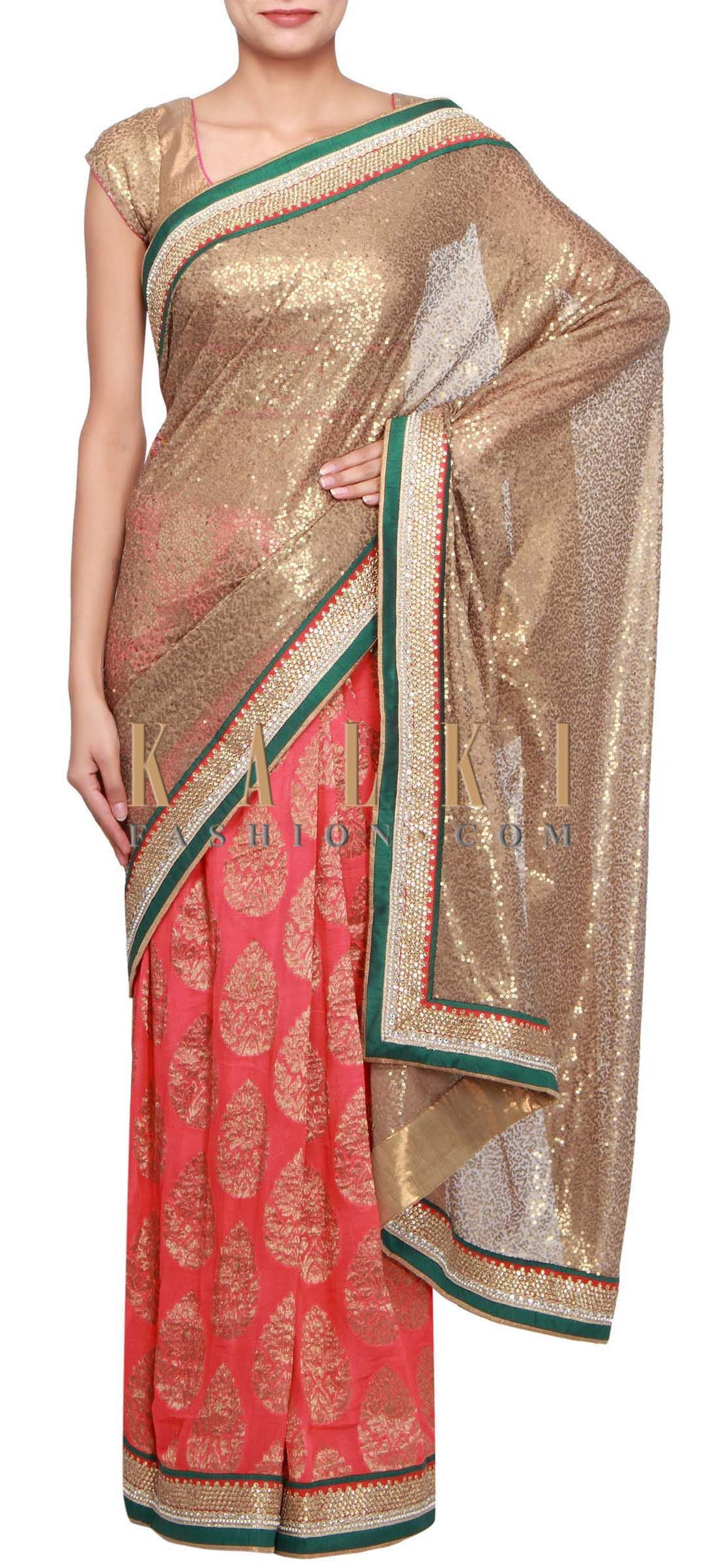 Buy Online from the link below. We ship worldwide (Free Shipping over US$100) http://www.kalkifashion.com/half-and-half-saree-in-copper-and-red-adorn-in-sequin-embroidery-only-on-kalki.html