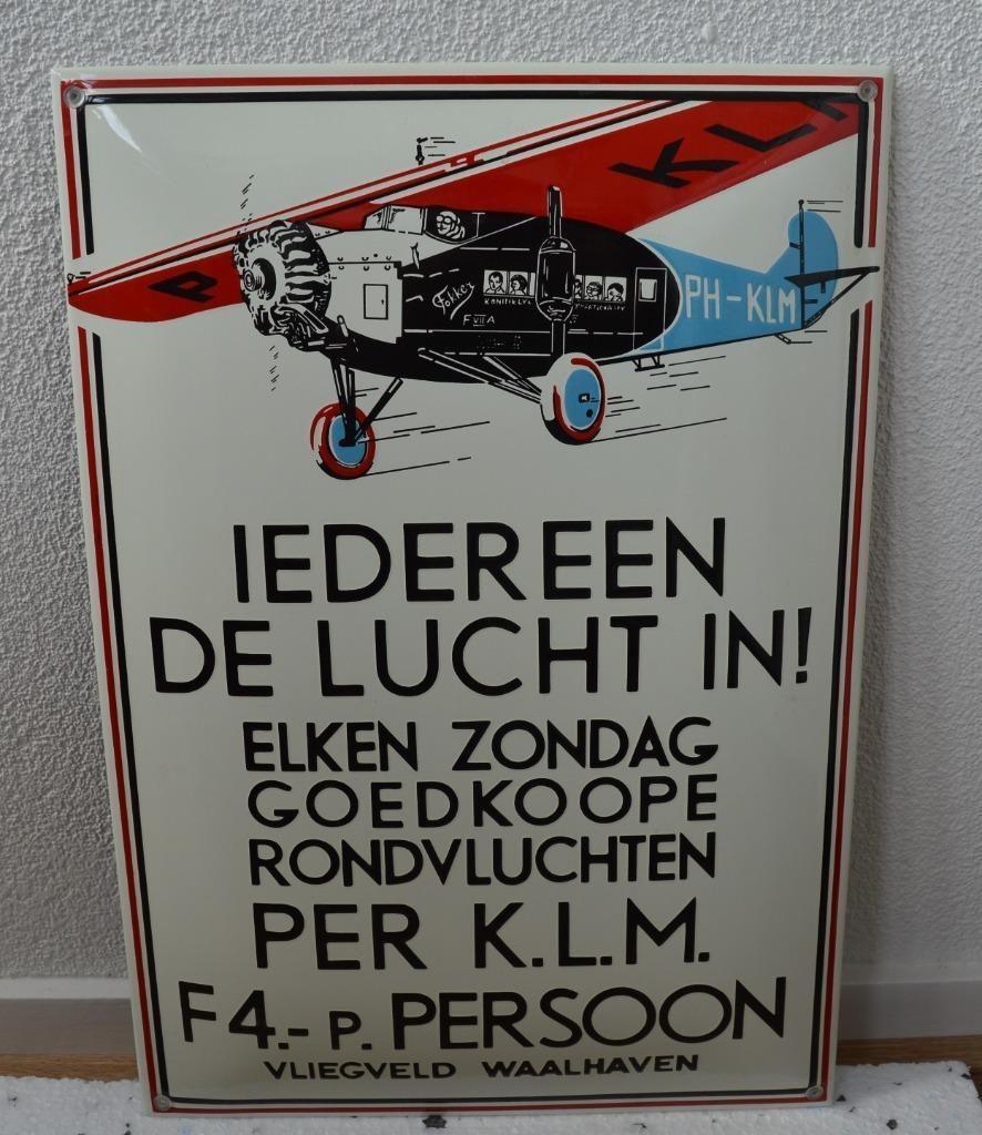 Emaille Klm Iedereen De Lucht In Bord Fokker 35x50 Merken En Reclamevoorwerpen Marktplaats Nl Lucht Emaille Borden