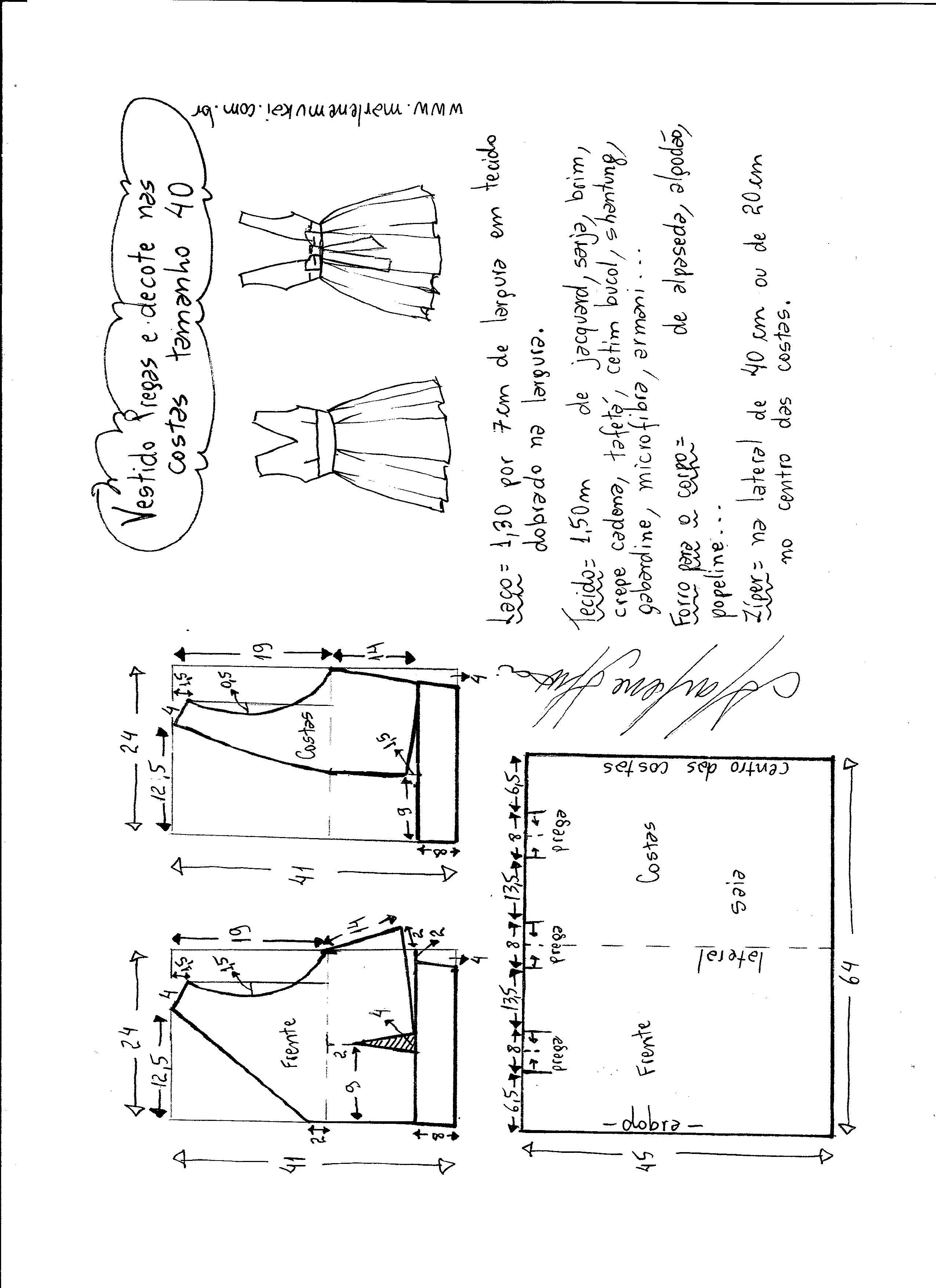 Vestido com pregas e decote costas | Molde, Costura y Patrones