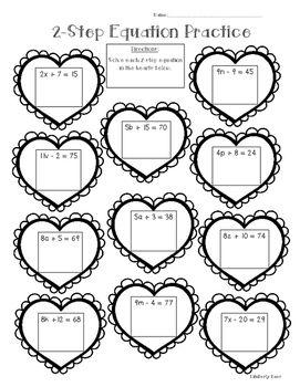2Step Algebraic Equation Math Practice Valentine Worksheet