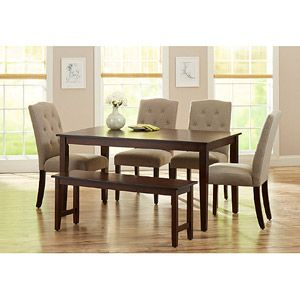 Better Homes And Gardens 6 Piece Dining Set With Upholstered Chairs Bench Mocha Beige Walmart Com Dining Room Cozy Dining Table Chairs Rustic Dining Furniture