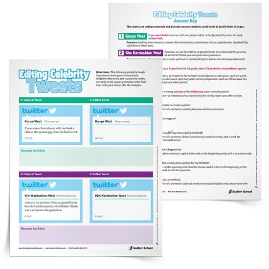 Use Celebrity Tweets For Editing Practice Grades 712 Www