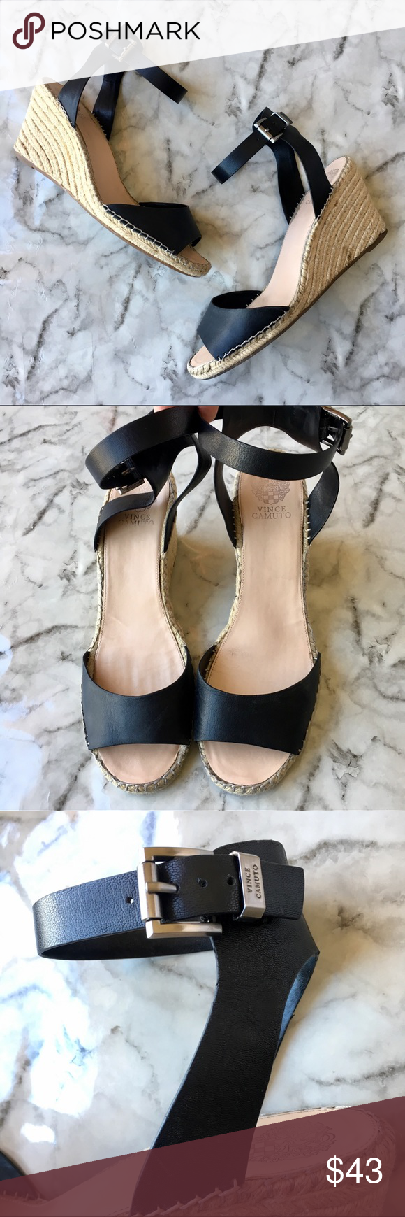 c09e666895a Vince Camuto Tagger Espadrille Wedge Sandals 13 Vince Camuto Tagger  Espadrille Wedge Sandals Black Leather Ankle
