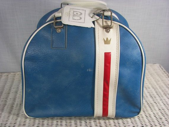 Vintage Brunswick Bowling Bag Blue with White Piping  05d4ae7d2edb