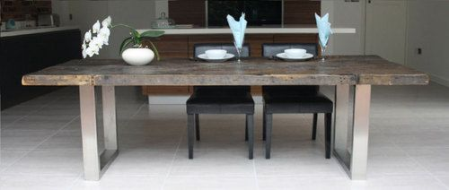 Large contemporary reclaimed wood and steel dining table