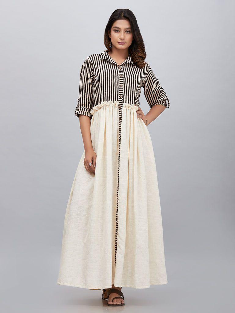 756733b690274c Buy Off White Black Block Printed Striped Khadi Cotton Maxi Dress online at  Theloom