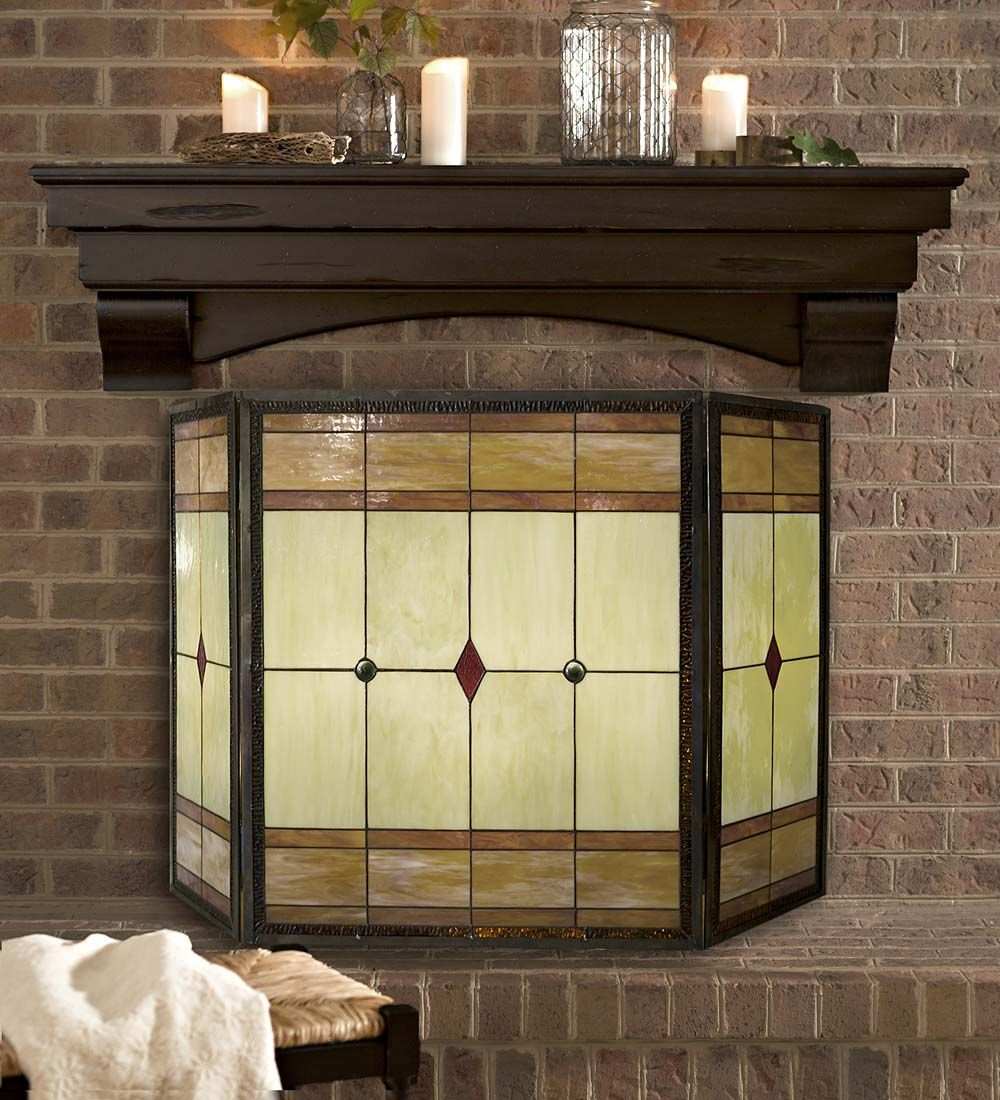 mission stained glass fire screen and light set crafted with 107