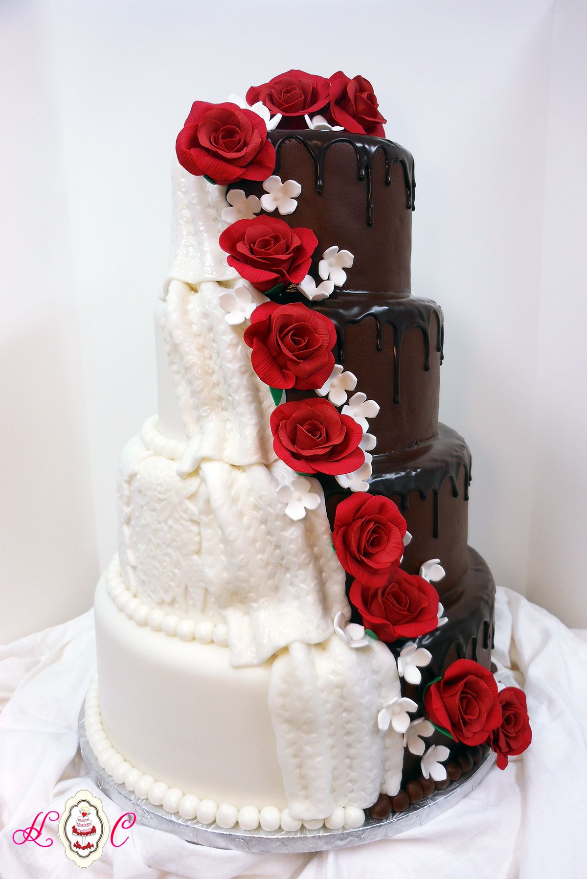 Bride & Groom Mixed Wedding Cake with Red Rose Cascade | Vowel ...