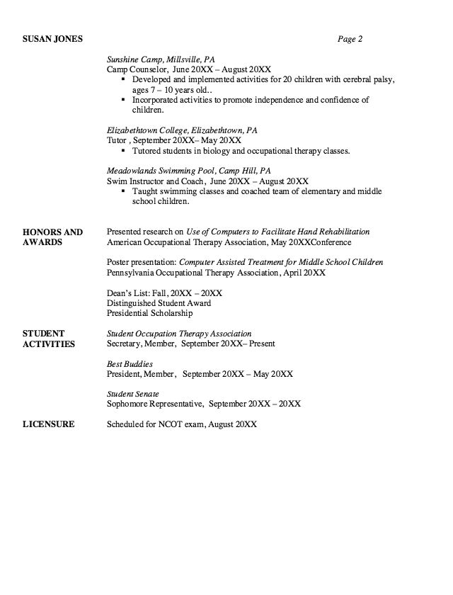 Pediatric Occupational Therapy Resume Sample Resumes Design