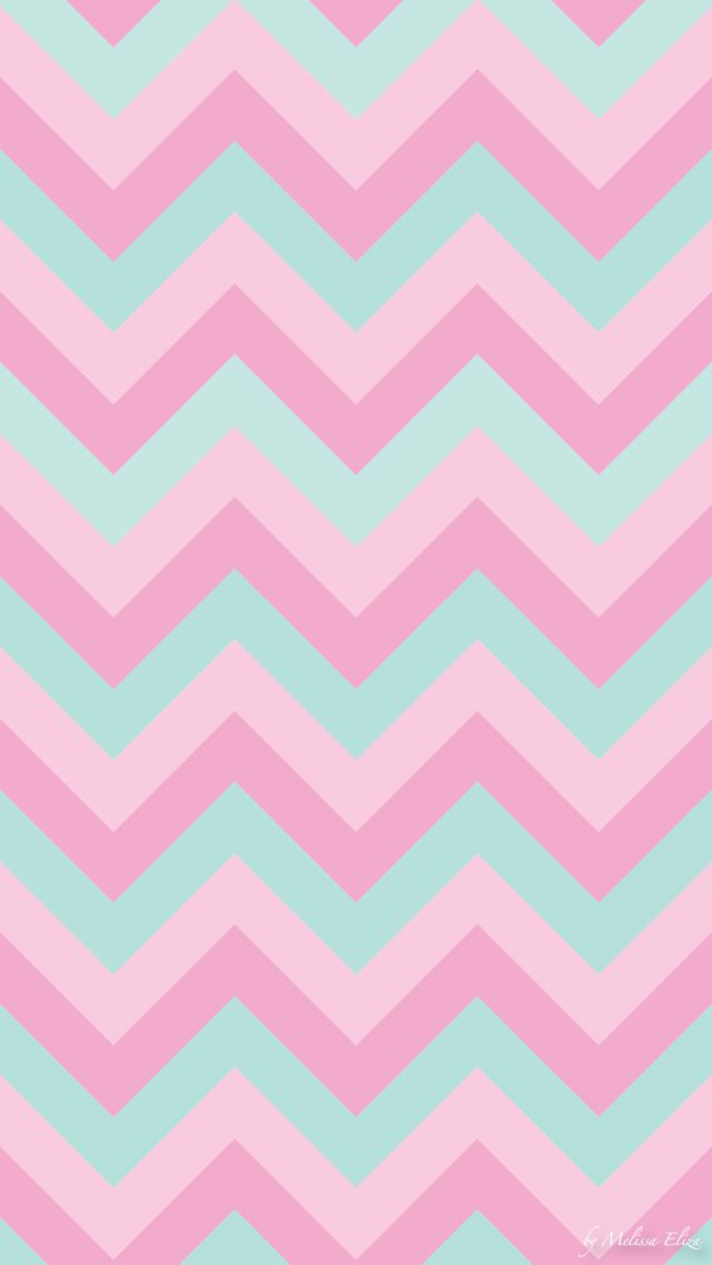 Mint green and pink chevron