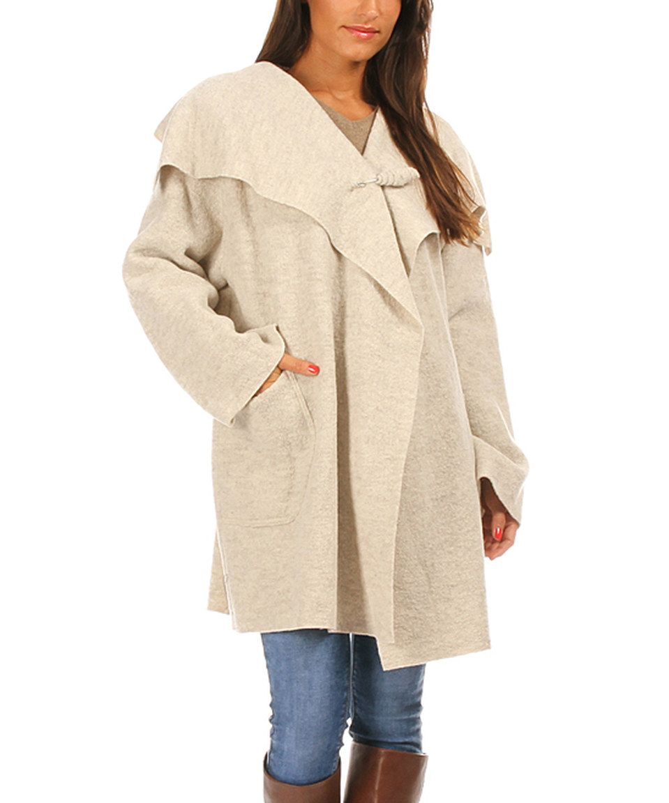 cc9e238a3d This Eva Tralala Off-White Wide-Collar Wool Coat by Eva Tralala is perfect!   zulilyfinds