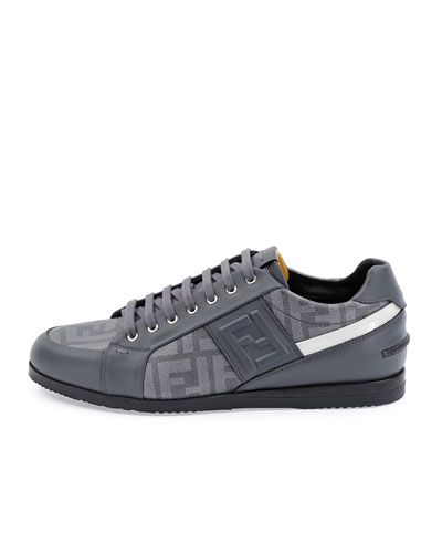 N2TUE Fendi Softy Lace-Up Low-Top Sneaker, Gray