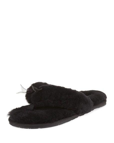 b9996e582a2 UGG Fluff Ii Shearling Fur Flip-Flop Slipper, Black. #ugg #shoes ...