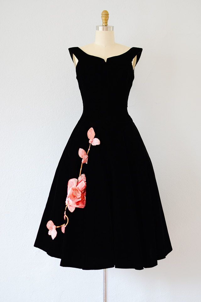 Vintage 1950s Black Velvet Party Dress With Pink Roses
