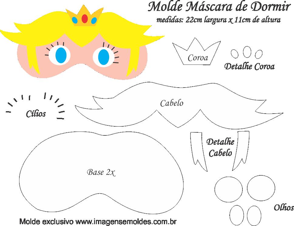 Molde Máscara de Dormir Peach Mario - Molde EVA - Feltro | Máscaras ...