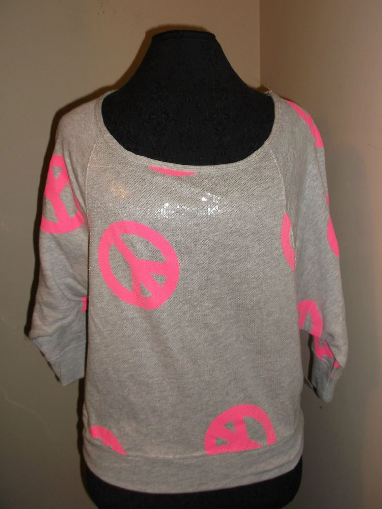 new Hard Candy hot pink peace sign knit top sequins sm 3/5 long sleeves casual #HardCandy #KnitTop #Casual