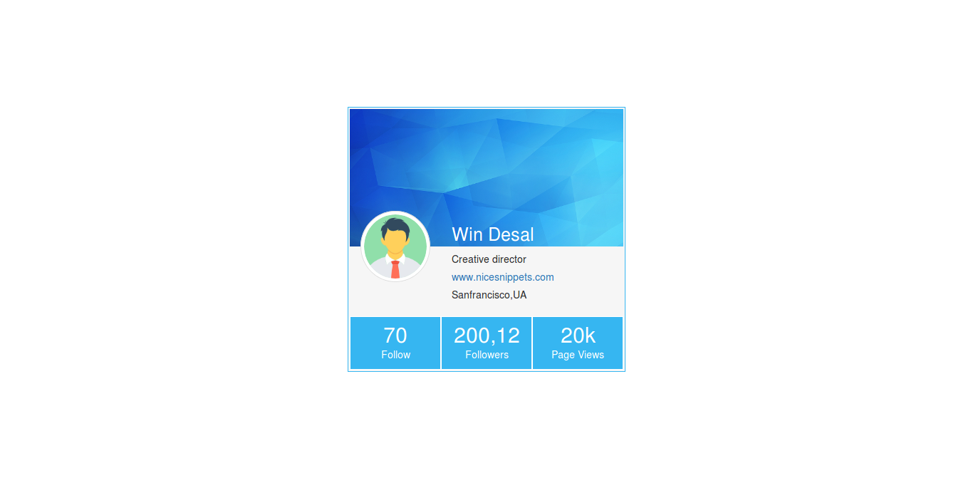 How to create user card design usign html,css and
