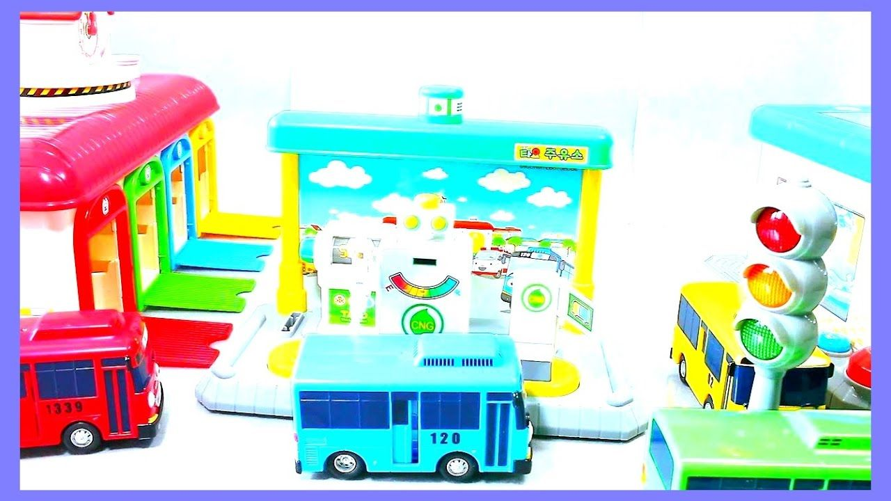 Learning trucks for kids with tayo the little bus garage