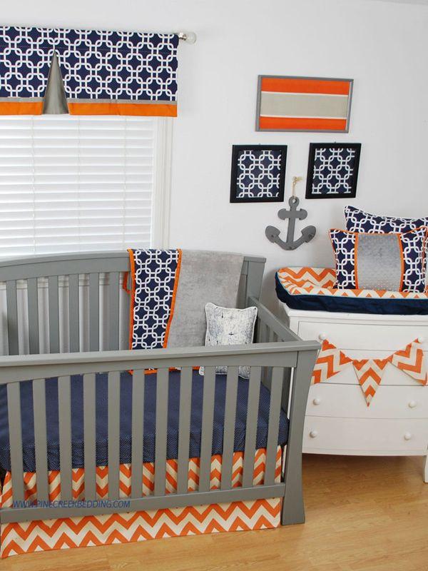 Orange Chevron Crib Bedding With Navy Chevron Crib Bedding Crib Bedding Cribs