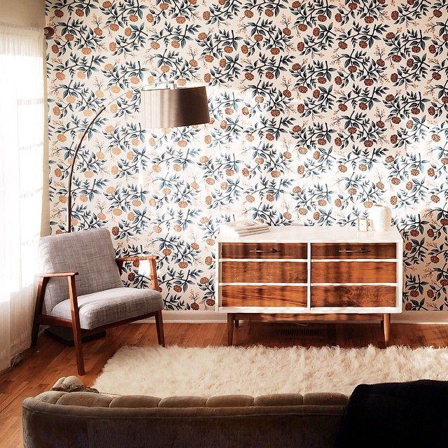 Wallpaper chair credenza