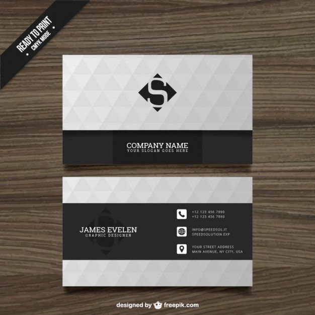 White and black business card free vector branding pinterest white and black business card free vector reheart Choice Image