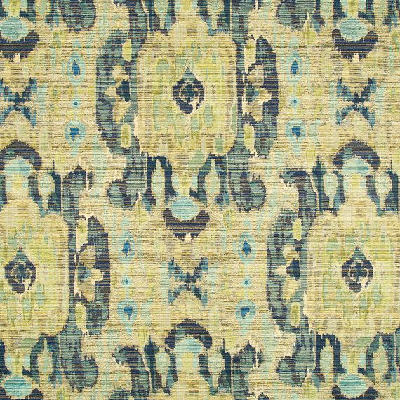 Chartreuse Ikat Woven Upholstery Fabric For Furniture Large Scale Design Yellow Aqua Blue Pillow Covers Modern Upholstery Fabric