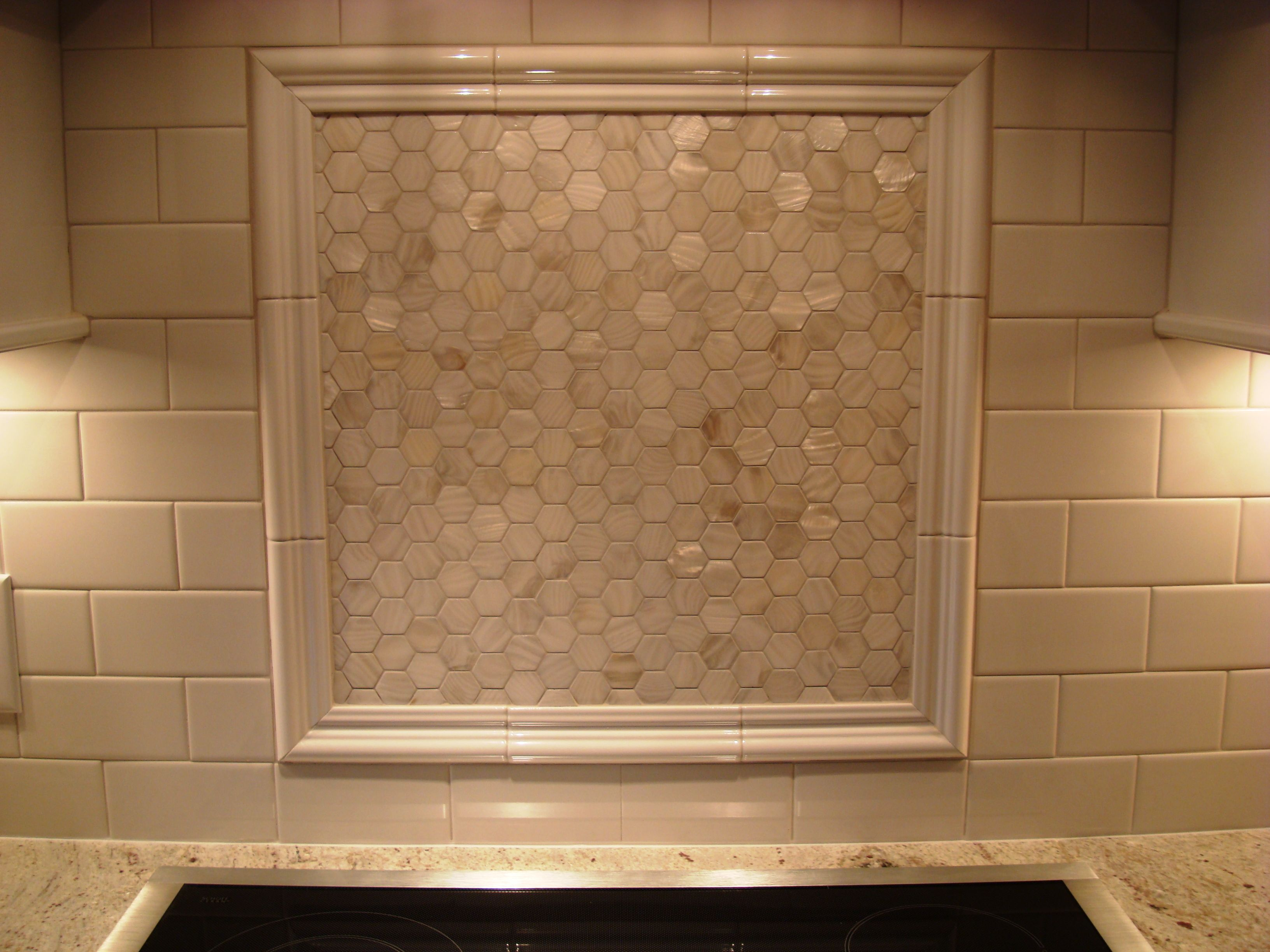 Over The Stove Backsplash The Mother Of Pearl Backsplash Above The Stove With White Ceramic