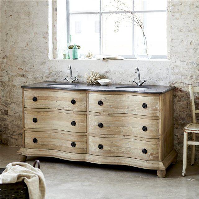 Image Meuble Salle de bain double vasque en pin Hermione Tikamoon