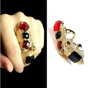 Min order $15(mixed order)Punk Style Red Gems Joint Articular Long Ring ,free shipping! US $11.06
