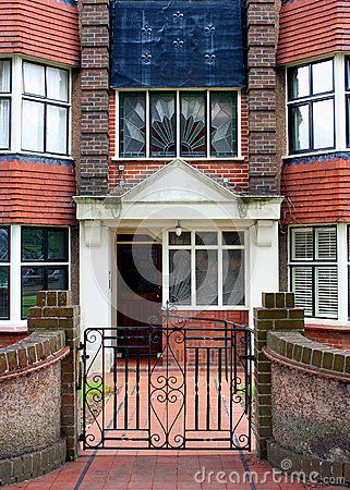 The entrance to an art deco block of flats in Hove Sussex England