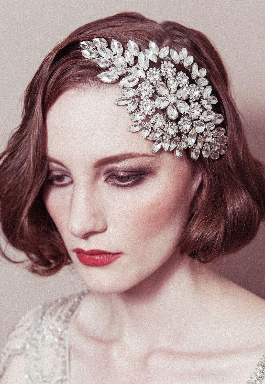 Hattie - rhinestone diamante cap style deco headpiece. $315.00, via Etsy.