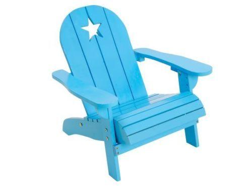 Adirondack sedie ~ Sedia per bambini adirondack in legno nuova azzurra con stellina