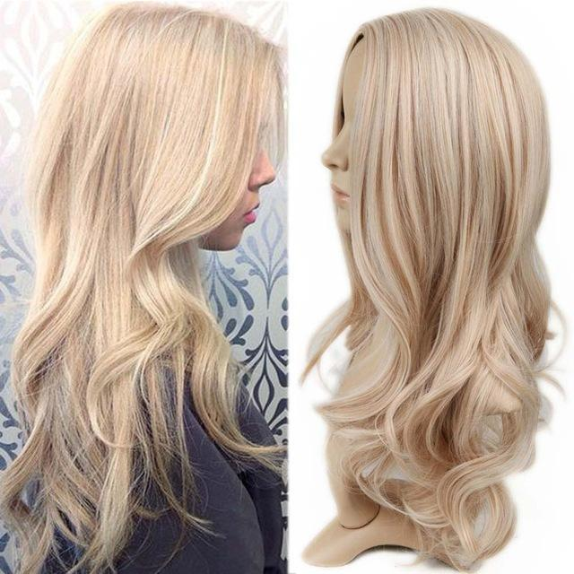 Wignee Long Ombre Brown Ash Blonde High Density Temperature