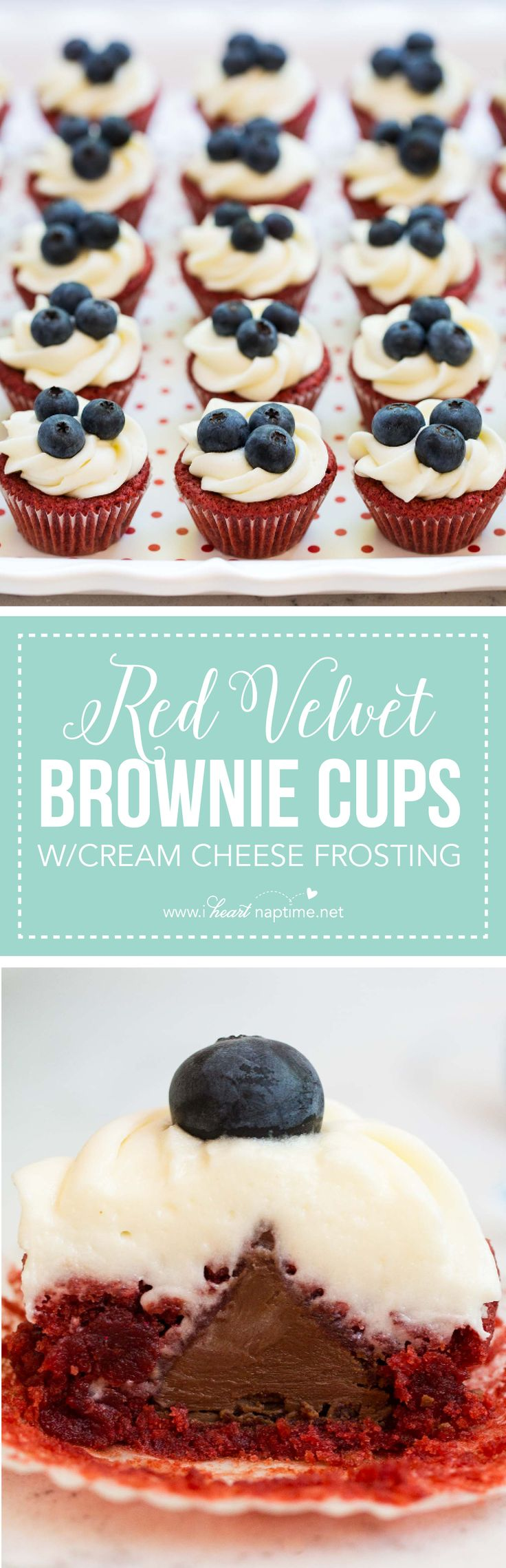 Red Velvet Brownie Cups Recipe with Cream Cheese Frosting and a HERSHEY'S KISS chocolate inside -YUM!!