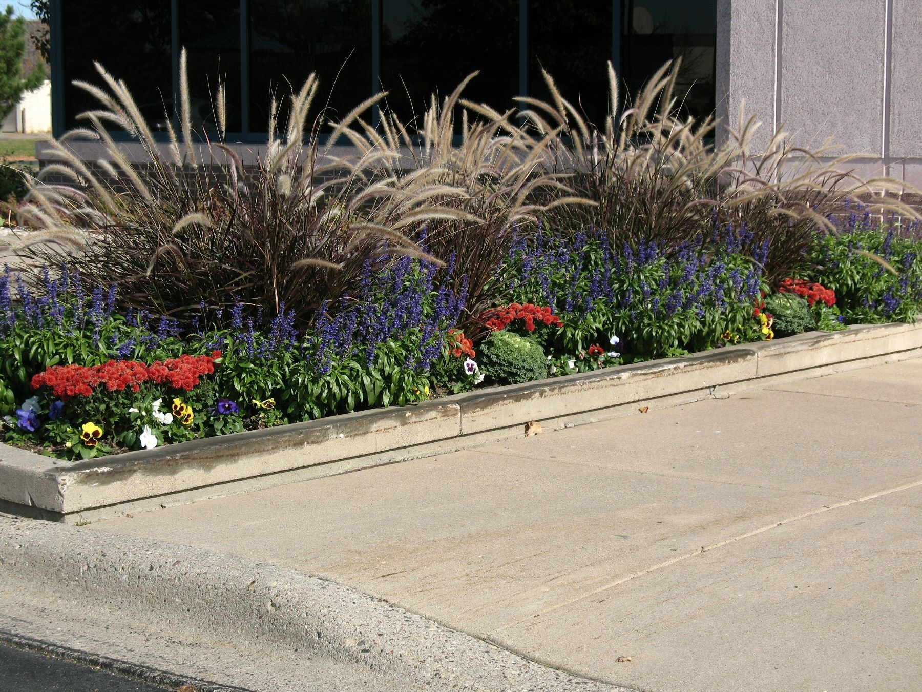 a large fall planter design on a commercial property by barrett