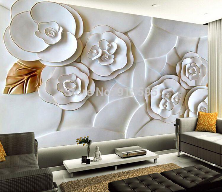 3d wallpaper mural embossed flowers white roses wall paper background tv unbranded modern
