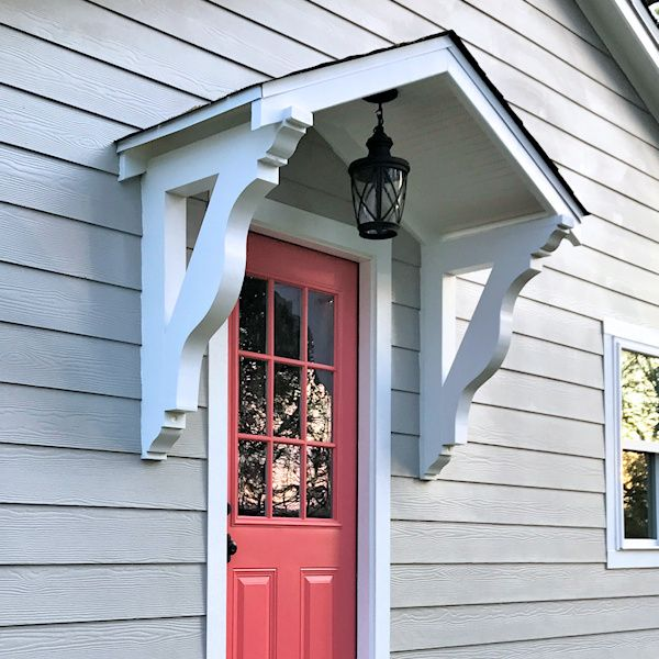 The Finished Studio Door Portico Plus One More Coral Door Addicted 2 Decorating Coral Door Front Door Awning House With Porch