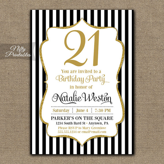 21st Birthday Invitations Black Gold Glitter Twenty First Any