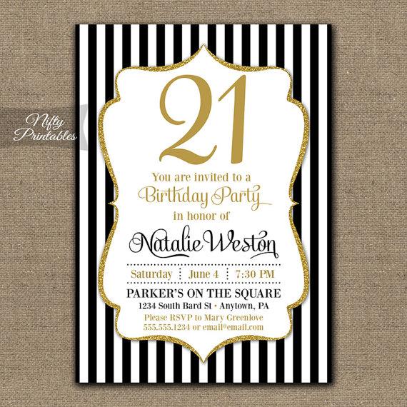 21st Birthday Invitations - Black  Gold Glitter - Twenty First Any