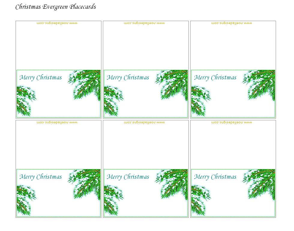 christmas name cards printable | FREE Printable Christmas Placecards ...