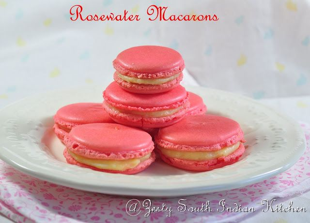 Delicious Rosewater macarons with lemon curd