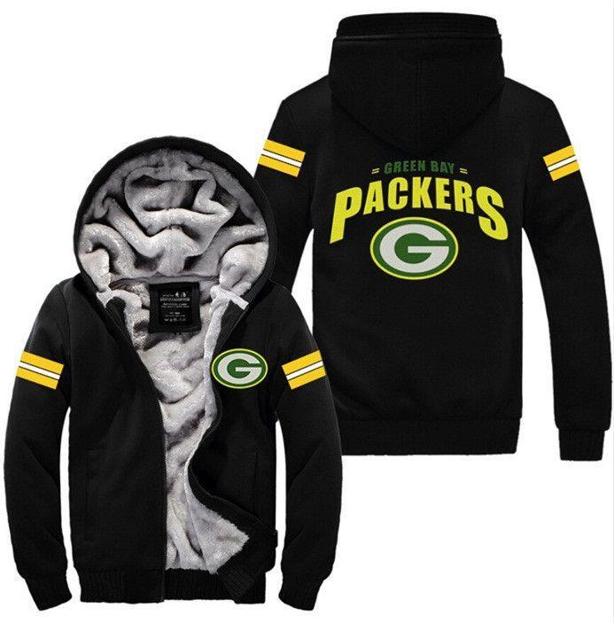 Usa Size Men Women Football Green Bay Packers Zipper Jacket Thicken Hoodie Coat Clothing Casual Packers Clothing Green Bay Packers Clothing Hoodies